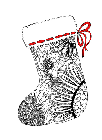 Doodle sketch of Christmas sock zentangle design. Coloring book for adult and older children. Hand drawn vector illustration.