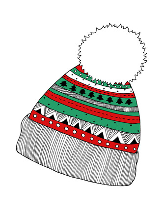 Knitted cap, vector colored image
