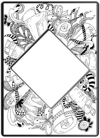 zentangle Frame, image vectorielle. tiré par la main Floral Vecteurs