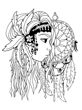 hair feathers: American indian girl. Hand drown, black and white. Zentangle vector image. beautiful woman face. Illustration