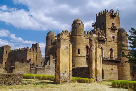 Fasilides Castle, founded by Emperor Fasilides. Fasil Ghebbi (Royal Enclosure) is the remains of a fortress-city. Its unique architecture shows various influences including Nubian styles. UNESCO World Heritage Site. Ethiopia, Gondar