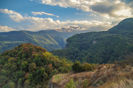 dagestan: Autumn evening in the Caucasus Mountains. Nature and travel. Russia, Dagestan