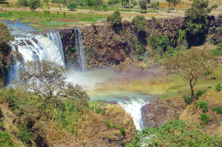 Scenic view of Blue Nile Falls. Waterfall on the Blue Nile river. Nature and travel. Ethiopia, Amhara Region, near Bahir Dar and Lake Tana