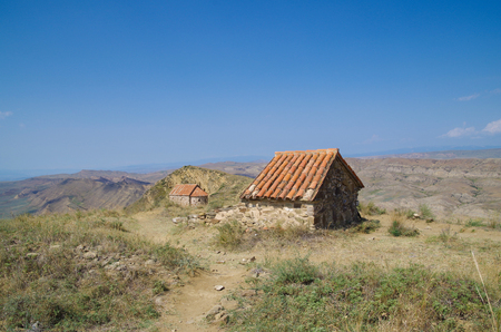 David Gareja. Monastery on the half-desert slope of Mount Gareja. Georgian Orthodox monastery complex. Georgia, Kakheti region, Georgia and Azerbaijan Stok Fotoğraf