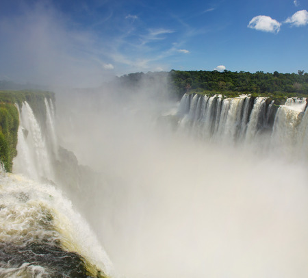 Amazing view of Iguazu Falls from the Argentine side. National Park. One of the New 7 Wonders of Nature.