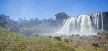 Beautiful view of Blue Nile Falls. Waterfall on the Blue Nile river. Nature and travel. Ethiopia, Amhara Region, near Bahir Dar and Lake Tana