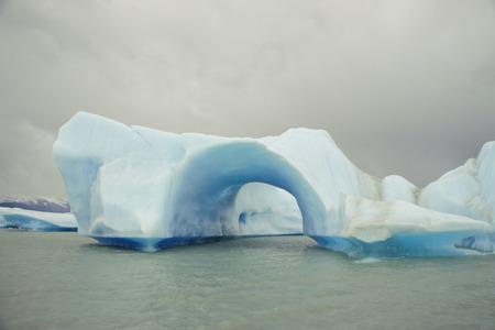 Blue iceberg floating in the Argentino Lake near the Upsala Glacier. Argentina, Santa Cruz Province, Los Glaciares National Park
