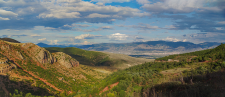 Autumn evening. Panoramic view of mountain valley on the dramatic sky. Nature and travel. Albania, Korcha County, near Moscopole (Voskopoje)