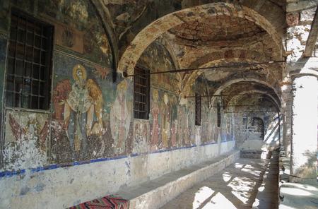 Frescoes. Decorated exonarthex of St. Nicholas Church, 1721. Cultural Monument of Albania, Korce County, Moscopole (Voskopoje) Stok Fotoğraf
