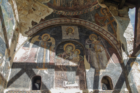 Frescoes. Madonna and Child, Archangels Michael and Gabriel. Decorated exonarthex of St. Marys Church. It was built between 1694-1699, and decorated in 1712. Cultural Monument of Albania, Korce County, Moscopole (Voskopoje) Stok Fotoğraf