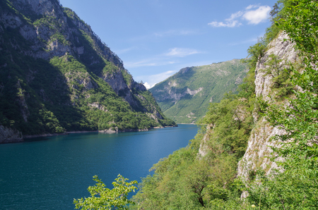 Lake Piva. Nature and travel. Montenegro, near border with Bosnia and Herzegovina