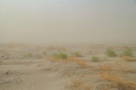 Sandstorm in desert. Danakil Depression. Ethiopia, Afar Region (Afar Triangle) Stok Fotoğraf