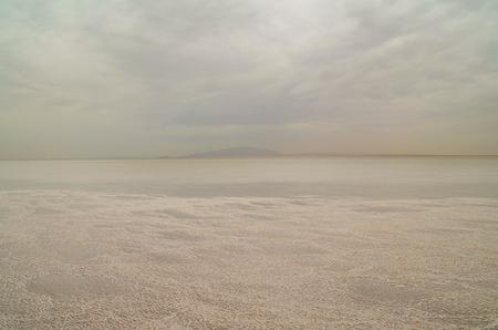 Sunrise. Salt Lake Karum (also known as Lake Assale or Asale) it lies at ?120 m (?394 ft) relative to sea level. Ethiopia, Afar Region, Danakil Depression (Afar Triangle or Afar Depression) Stok Fotoğraf