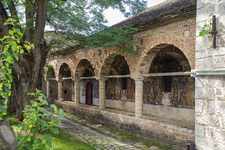 Decorated exonarthex of St. Nicholas Church, 1721. Cultural Monument of Albania. Korce County, Moscopole (Voskopoje) Stok Fotoğraf