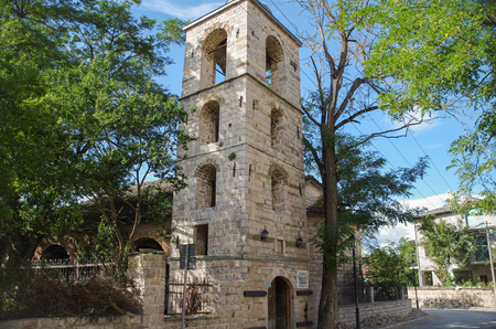 St. Nicholas Church in Moscopole. Orthodox church was built in 1721. Cultural Monument of Albania. Korce County, Moscopole (Voskopoje) Stok Fotoğraf