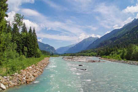 Dombay. Scenic view of the river Teberda. Nature and travel. Russia, North Caucasus, Karachay-Cherkessia Stok Fotoğraf
