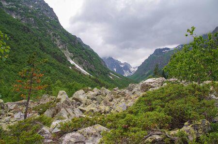 Dombay. Trek to Badouk lakes. Nature and travel. Russia, North Caucasus, Karachay-Cherkessia, Teberda Nature Reserve