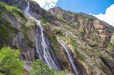 Dombay. First Sofrudzhu Fall. Nature and travel. Russia, North Caucasus, Karachay-Cherkessia