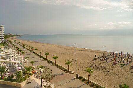 Out of season. Panoramic view of the Adriatic Sea. Albania, Lezhe County, Resort Shengjin