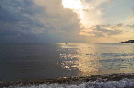 Seashore of the Adriatic Sea at sunset. Out of season. Nature and travel. Albania, Lezhe County, Resort Shengjin