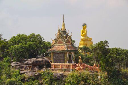 Buddhist Pagoda at the edge of precipice. Cambodia, Kampot, Preah Monivong Bokor National Park Stok Fotoğraf