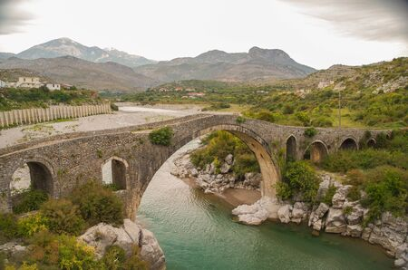 Mesi Bridge. Ottoman bridge crosses the Kir River near the village of Mes. Albania, Shkoder County Stock fotó