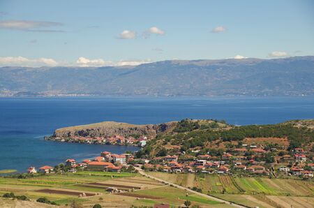 Village of Lake Ohrid. Nature and travel. Albania, Korce County, close to the border with Macedonia 写真素材 - 134727162