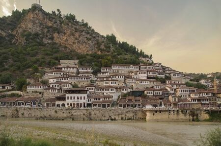 Evening in the ancient city. Berat, called the city of a thousand windows, comprising a unique style of architecture with influences from several civilizations that have managed to coexist for centuries throughout the history. 写真素材 - 134727418