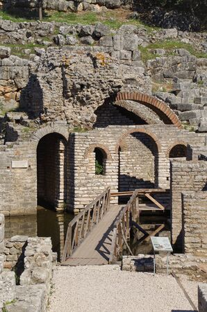 Sanctuary dedicated to Asclepius (god of medicine). Buthrotum. Ancient Greek and later Roman city.   Albania, Vlora County, near Saranda 写真素材 - 134727031