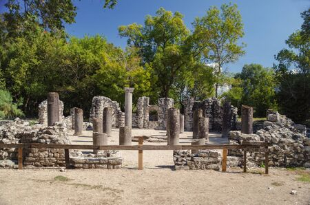 Remains of the baptistery. Is one of the outstanding early Byzantine monuments of central Mediterranean. Buthrotum. Butrint National Park.  Albania, Vlora County, near Saranda