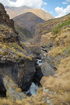 Oysor River Canyon. Narrow natural Stone Bridge. Nature and travel. Russia, North Caucasus, Dagestan, Charodinsky District, near Chirkhalyu Fall