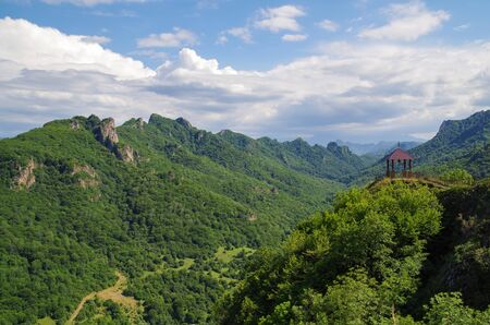 Scenic view from the Shoana Church. Bell gable. Russia, North Caucasus, Karachay-Cherkessia