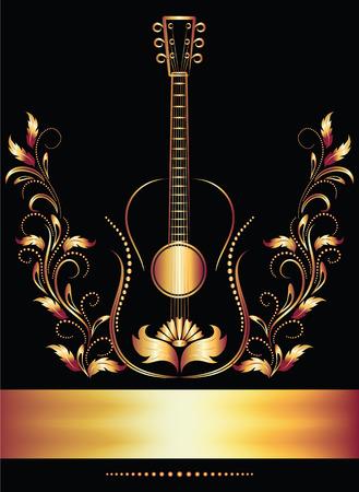 Página de título con guitarra  Ilustración de vector