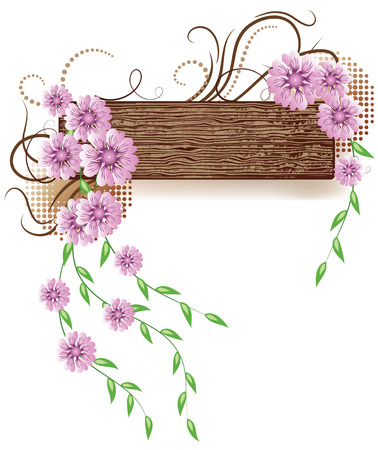 hung: Abstract background with wooden texture and flowers
