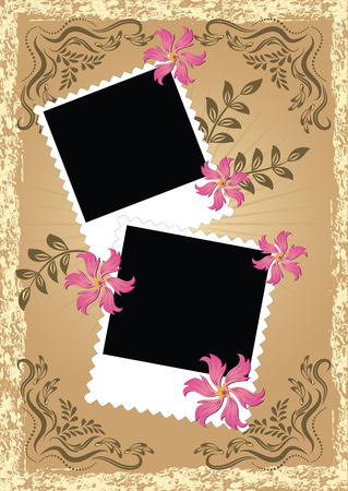 Page layout photo album in retro style Vector