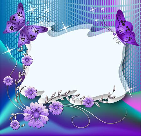 photo album page: Magic fondo floral con mariposas y un lugar para el texto o la foto  Vectores