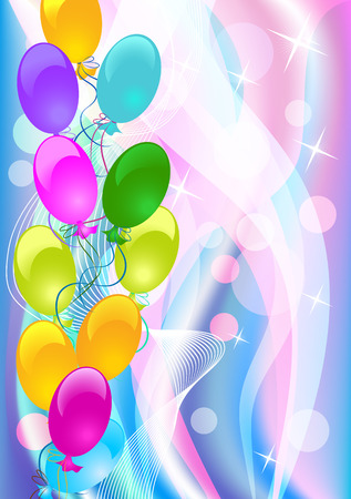 Celebratory abstract background with balloons. Vector