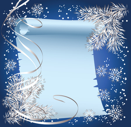 to write: Christmas background with spruce branch and scroll parchment