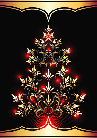 furtree: Christmas golden fur-tree with red lights Illustration