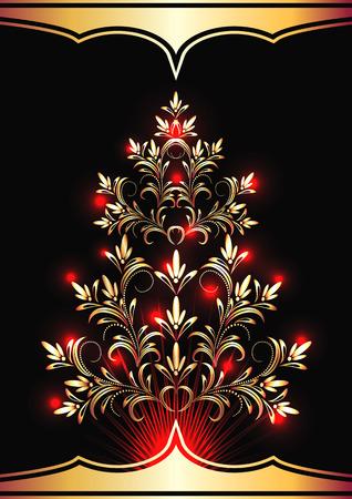 ball lights: Christmas golden fur-tree with red lights Illustration