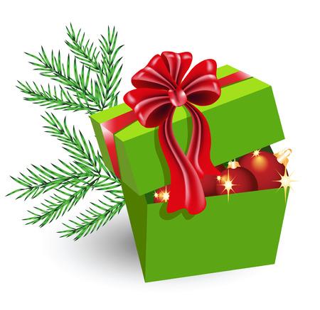 fur tree: Confezione regalo con decorazioni di Natale e fiocco rosso  Vettoriali