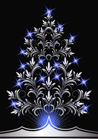furtree: Christmas silver fur-tree with blue stars