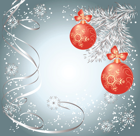 transparent brush: Christmas background with serpentine and balls  Illustration
