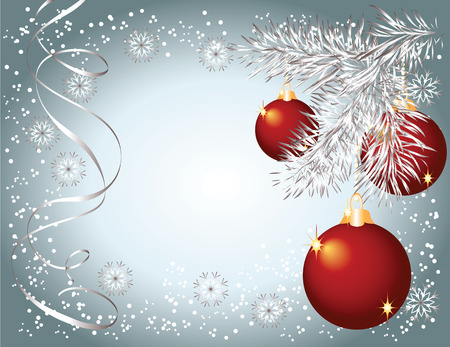 Christmas background with serpentine and balls Stock Vector - 8136670