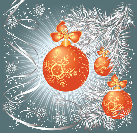 furtree: Christmas background with balls, bow, serpentine, snowflakes and silvery fur-tree