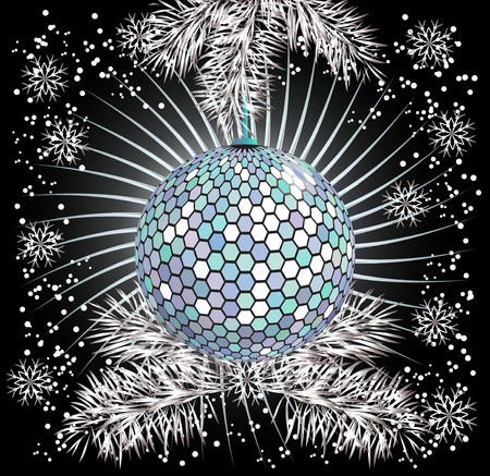 furtree: Christmas background with discoball hanging on the fur-tree Illustration