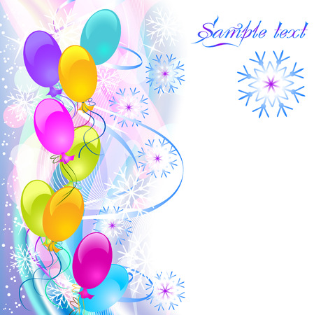 Christmas background with ballons, serpentine and snowflakes Stock Vector - 8136741