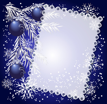 fur trees: Cloth with lace edges at the Christmas background Illustration