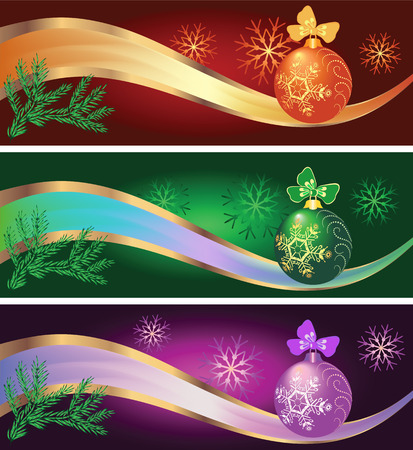 Set of New year backgrounds with fur-tree and Christmas ball Vector