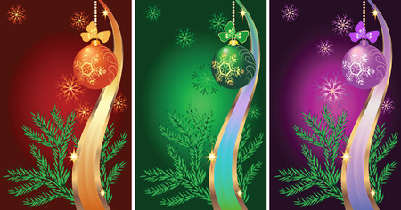 fur trees: Set of New year backgrounds with fur-tree and Christmas ball